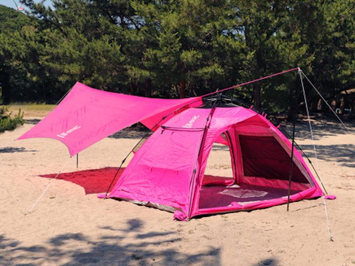 フェス・キャンプで目立ちたい女子必見!ド派手なピンクのテント&タープはゆったり広々♪ life170710_doppelganger5-700x526