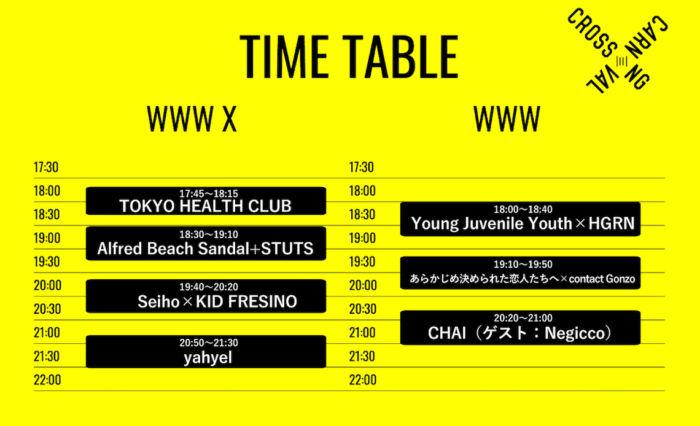 <CROSSING CARNIVAL>タイムテーブル公開!TOKYO HEALTH CLUB、YJY×HGRNが追加発表 crossingcarnival-1712222-700x426