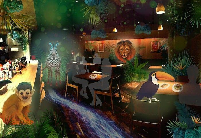 渋谷の夜にジャングル出現!?世界初の体験型プロジェクションマッピング「ナイトサファリレストラン」バンクス渋谷にて開催! art180122_nightsafari_01-700x481