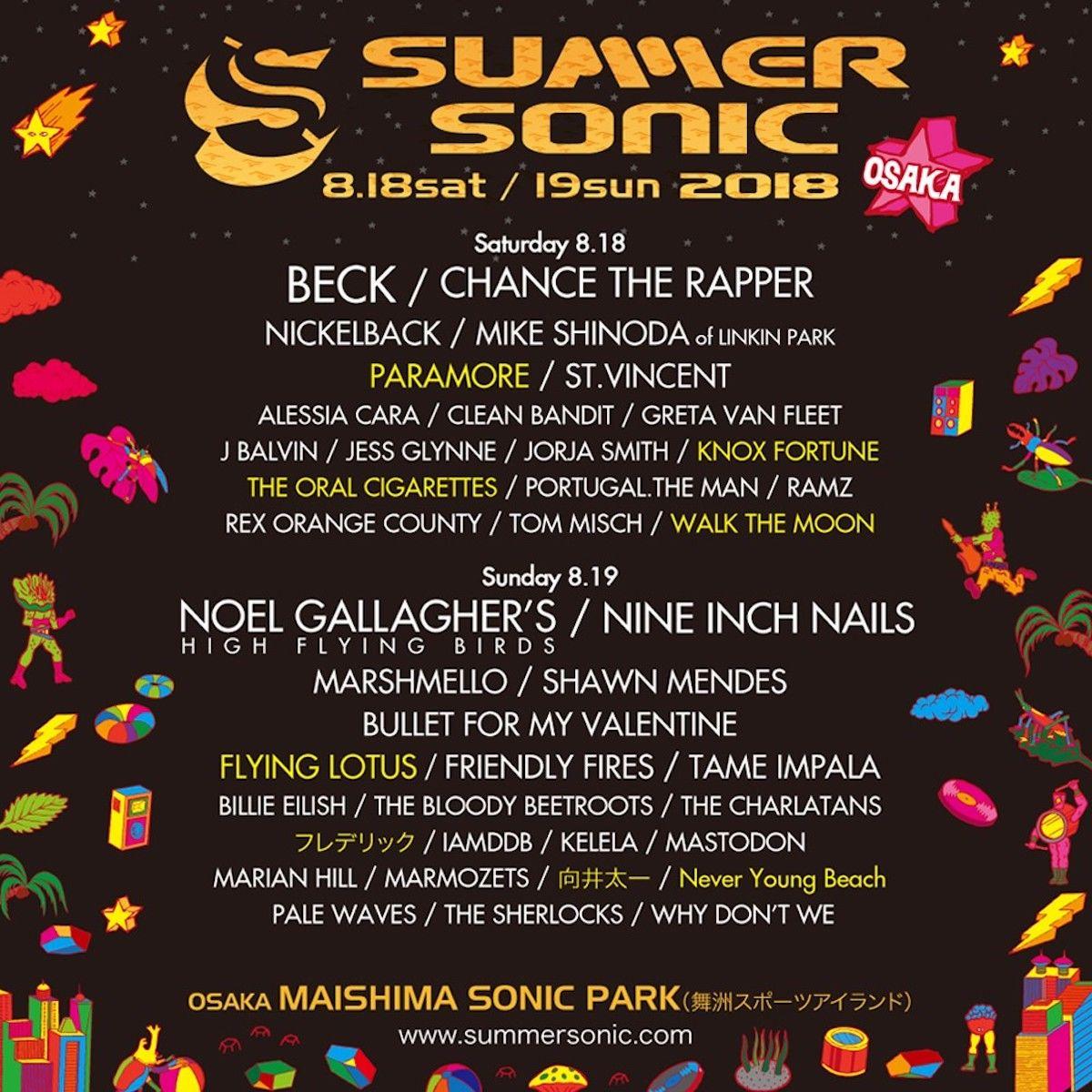 <サマソニ2018>第4弾ラインナップ&日割り発表!パラモア、水曜日のカンパネラ、ネバヤン、Yogeeら追加! music180301_summersonic_1-1200x1200
