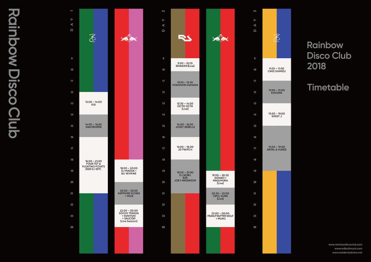 <RAINBOW DISCO CLUB 2018>のタイムテーブルが発表!あのB2Bはなんと○時間! music180322_rainbowdiscoclub_-1200x848