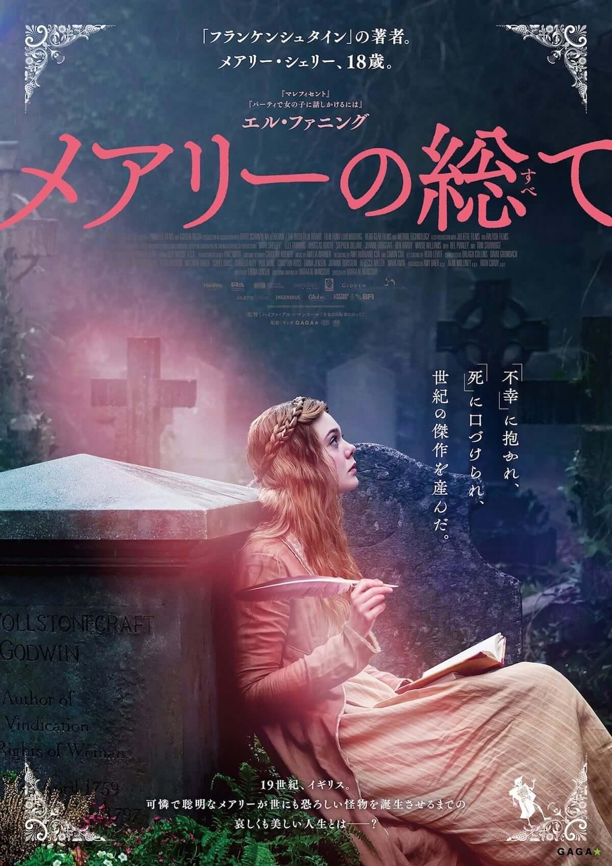 エル・ファニング主演映画、邦題『メアリーの総て(すべて)』として12月公開決定!美しい女性の姿が目を引くポスタービジュアルも解禁! film180911_mary-shelley_01-1200x1698