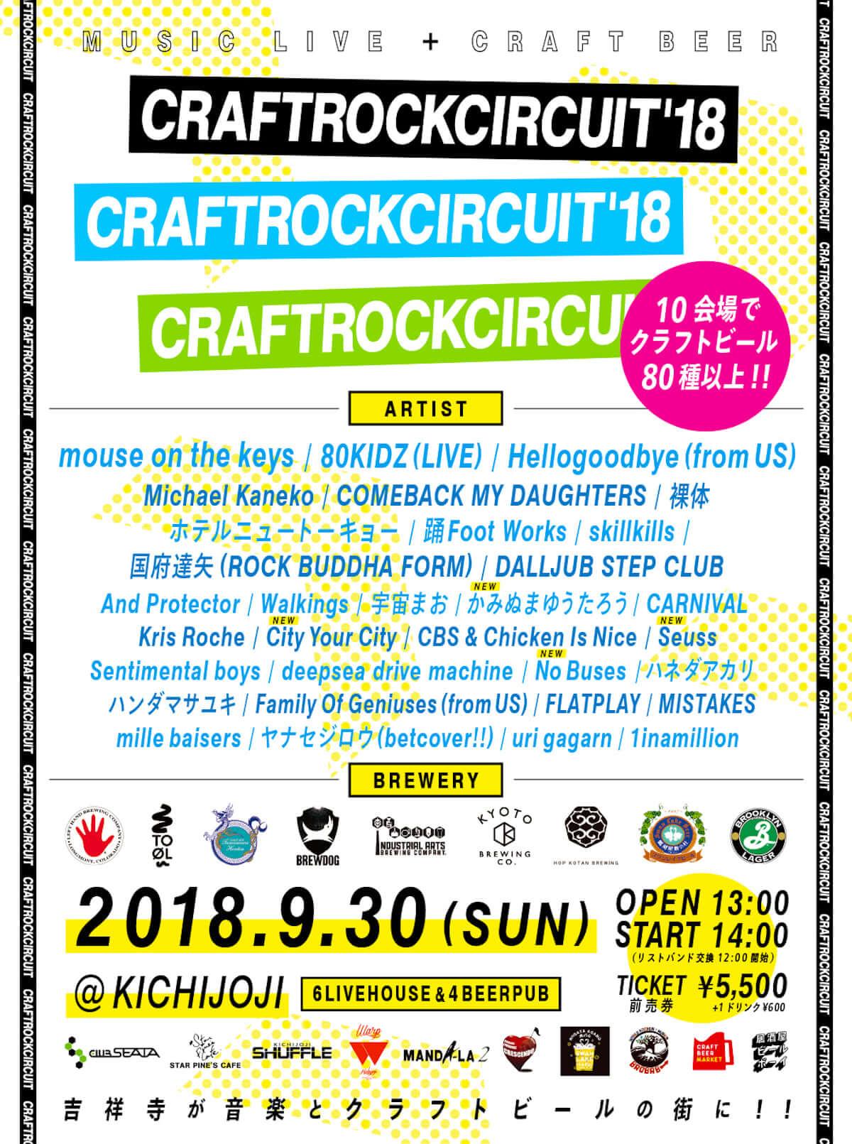 音楽×クラフトビール!<CRAFTROCK CIRCUIT'18>が吉祥寺で開催!80KIDZ、踊Foot Worksら出演 music180927_craftrock_01-1200x1611